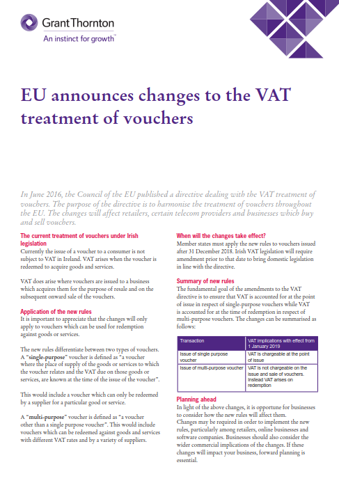Changes to the VAT treatment of vouchers - Grant Thornton